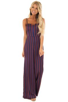 d879c617ffc5 Burgundy and Navy Satin Striped Wide Leg Jumpsuit