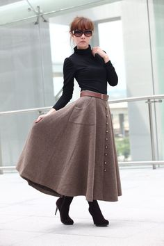 Graceful Camel Wool Big Sweep Long Maxi Skirt by Sophiaclothing, $79.99
