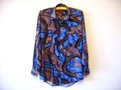 Psychedelic Blue Mens Shirt Button up Long Sleeve Blue Brown Dress Shirt