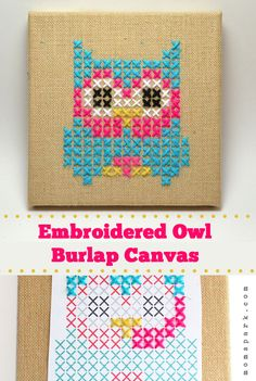 Embroidered Owl Burlap Canvas Tutorial #owls #crafts #diy