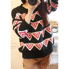 $12.38 Retro Style Scoop Neck Color Splicing Geometric Pattern Long Sleeves Sweater For Women