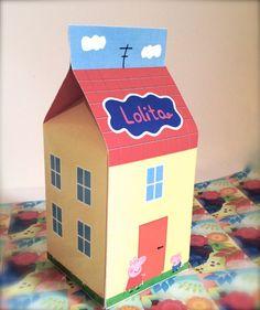 Peppa Pig inspired Printable Favor box, Milk box, Editable Text, Peppa la cerdita, Textos editables. de ImprimeConEstilo en Etsy