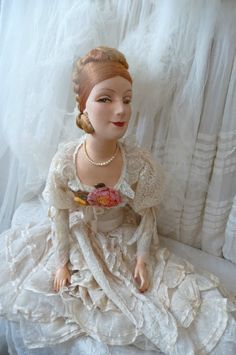 Antique French Boudoir Doll RARE Paris Edwardian C 1920 Fashion Doll XL Size | eBay