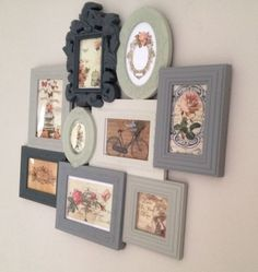 Pretty frame collage idea... the matte (probably chalk) paint allows the different colors to work together instead of individually stand out