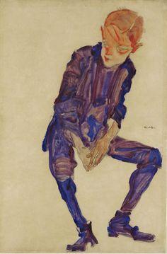 Egon Schiele, Ragazzo seduto, 1910.