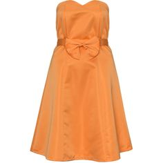 Manon Baptiste Orange Plus Size Bow belt cocktail dress (235 CAD) ❤ liked on Polyvore featuring dresses, orange, plus size, plus size cocktail dresses, orange cocktail dress, red sweetheart dress, slimming cocktail dresses and red dress