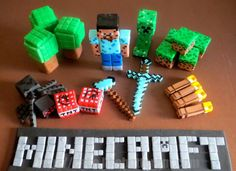Fondant Minecraft cake toppers by Like Butter. Wow, we'd happily get these so we don't have to DIY.