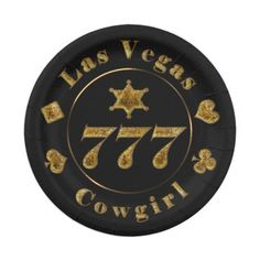 Las Vegas Cowgirl 777 Black and Gold Paper Plates for your Poker Party. http://www.zazzle.com/las_vegas_cowgirl_777_black_and_gold_paper_plates-256941052947323907?rf=238575087705003771