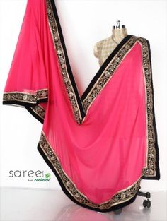 Magenta Georgette Saree with Stone and Pearl Work
