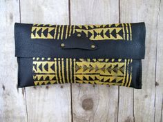 Distressed Tribal Print Small Leather Clutch Gold and by 14xbags, $95.00