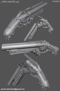 Sawed off shotgun, Abhishek pareek Steampunk Weapons, Sci Fi Weapons, Weapon Concept Art, Fantasy Weapons, Weapons Guns, Guns And Ammo, Zbrush, Rifles, Killzone Shadow Fall