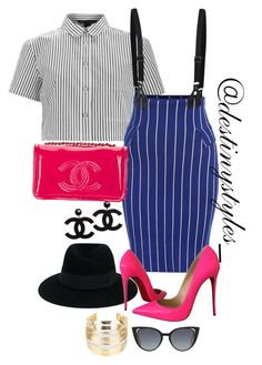 """Untitled #211"" by iamdestinnny on Polyvore featuring Marc by Marc Jacobs, Maison Michel, Chanel, Christian Louboutin, WithChic and Fendi"