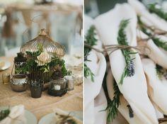 Vintage birdcage centerpieces. Mossy wedding. Lavender napkin holders. Table decor. Wedding photos. Unique wedding ideas.