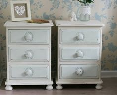 Set of 2 Pine Shabby Chic Cottage Bedside Tables by Foundintheloft