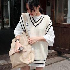 Fashion Patchwork V-Neck Women's Knitted Vest Preppy Style Loose Plus Size Vesteliilgal
