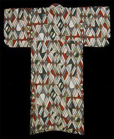 Kimono from Showa Era, circa 1950, Japan Design quilt blocks from patterned…