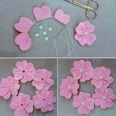 Best 12 This weekend is a busy one with the Christmas Makes Day and a Christmas wreath craft party. Perfect for this weather – SkillOfKing. Wreath Crafts, Ribbon Crafts, Flower Crafts, Felt Crafts, Fabric Crafts, Sewing Crafts, Cloth Flowers, Felt Flowers, Diy Flowers