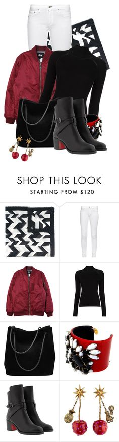 """Untitled #1612"" by linda-olson ❤ liked on Polyvore featuring Salvatore Ferragamo, rag & bone, Stussy, Misha Nonoo, Gucci and Christian Louboutin"