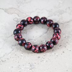 Polymer clay bead bracelet  for Man by VonGrega on Etsy