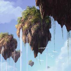 35 Fantastic Illustrations Of Fantasy Landscapes – Bashooka Avatar floating mountains Creative Illustration, Fantasy Illustration, Digital Illustration, Fantasy Magic, Fantasy World, Fantasy Kunst, Fantasy Art, Rpg Map, Creation Art