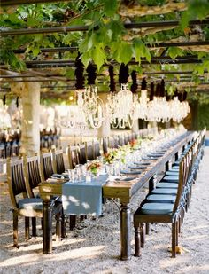 Vineyard wedding table. Interesting. Love the chandeliers (but my wedding would be a little less rustic and slightly more elegant).