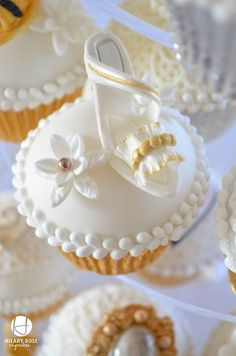White Wedding Shoe Cupcake