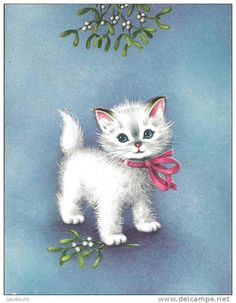 sweet vintage kitten under the mistletoe