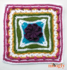 Block #9 in the Moogly 2015 Afghan CAL!  Spring Burst Free Crochet Granny Afghan Square Pattern
