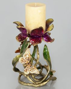 "H7KXP Jay Strongwater Meredith Floral 9"" Pillar Candleholder"