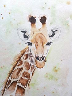 Original watercolor painting of this sweet giraffe. A3 size paper. For sale. Watercolours, Watercolor Paintings, Multimedia Arts, A3 Size, Gouache, Giraffe, Birds, Texture, The Originals