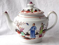 LATE C18TH NEW HALL TEA POT AND COVER BOY WITH BUTTERFLY PATTERN NUMBER 421 | eBay