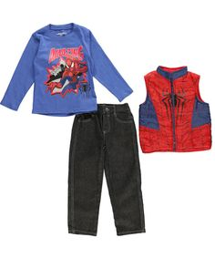 """Spider-Man Little Boys' Toddler """"Simply Amazing"""" 3-Piece Outfit (Sizes 2T - 4T) $9.99  If his favorite superhero is Spider-Man, this 3-piece is a must. All pieces are designed for kid-friendly comfort."""