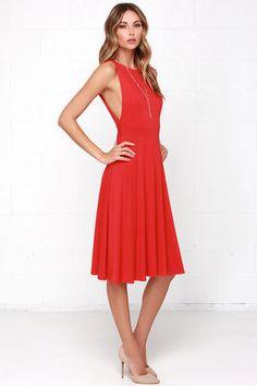 Lovely Red Dress - Midi Dress - Backless Dress - $48.00