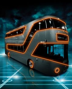"Off the grid with the Tron bus ~ Mik's Pics ""Trucks and Buses"" board London Bus, Party Bus, Tron Light Cycle, London Underground Train, Caravan, Tron Legacy, Double Decker Bus, Bus Coach, Transportation Services"