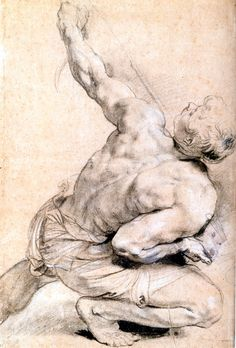 Rubens, around 1610.  Back vew of crouching figure. Private Collection Holland.  Saw this in the Rubens Exhibition put together by the Albertina and on at the MET around 2004?.