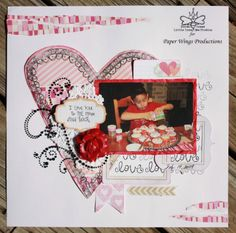 I Love You to the Moon.  Rubber stamped scrapbook layout #pwp #paperwingsproductions