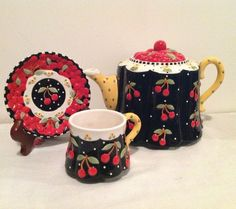 Mary Engelbreit 2001 Very Cherry Teapot Cup Saucer Black w Cherries Tea Set | eBay