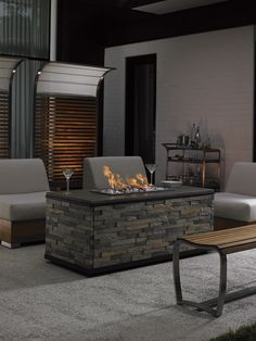 Chic fire pit with armless chairs from Tommy Bahama Outdoor Living #CoastalChic