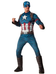 Check out Men's Marvel's Civil War Deluxe Muscle Chest Captain America Costume - TV & Movie Mens Costumes from Wholesale Halloween Costumes