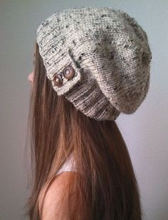 Knit slouchy hat with button/s - OATMEAL (more colors available - made to order) - 中折れ帽 Knit Crochet, Crochet Hats, Crochet Bunny, Free Crochet, Textured Yarn, Slouchy Hat, Slouch Beanie, Love Hat, Cute Hats