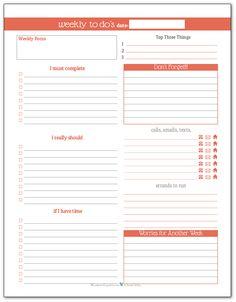 Summer Orange - Weekly To-Do list planner printable