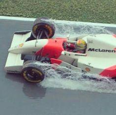Ayrton Senna driving in the rain