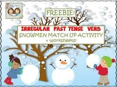 Twin Speech: FREEBIE! Irregular Past Tense Verb Snowmen Match Up. Pinned by SOS Inc. Resources. Follow all our boards at pinterest.com/sostherapy/ for therapy resources.