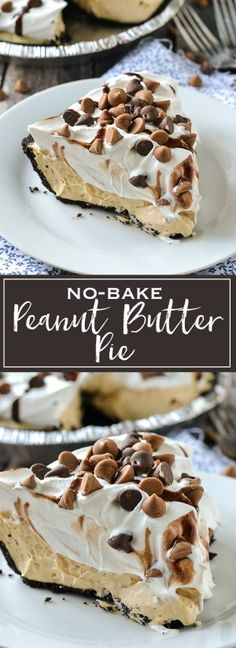 A simple recipe for creamy and delicious No-Bake Peanut Butter Pie. A simple recipe for creamy and delicious No-Bake Peanut Butter Pie. It only takes minutes to make with just a few ingredients. It& simply delicious. Dessert Oreo, Coconut Dessert, Bon Dessert, Brownie Desserts, Dessert Party, Baking Brownies, Dessert Table, Appetizer Dessert, Dinner Dessert