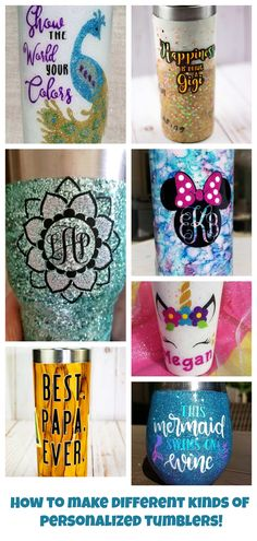 Personalized Tumblers: 15 Different Ways to Customize a Tumbler You'll Love DIY personalized tumblers! See 15 different ways to customize stainless steel mugs from glitter mugs to alcohol ink tumblers. Vinyl Tumblers, Personalized Tumblers, Custom Tumblers, Shilouette Cameo, How To Make Glitter, Diy Wine Glasses, Diy Baby Gifts, Custom Cups, Glitter Cups