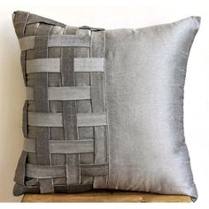 Decorative Throw Pillow Covers Couch Pillow Sofa 20x20 Silver Gray Silk Pillow…