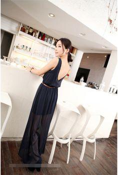 S1371 sleeveless perspective chiffon dress-black