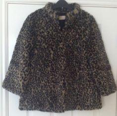 New - Womens eee London Leopard Print Faux Fur Jacket Coat Size 14 - £16.99
