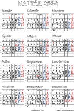 Ingyenes naptár nyomtatás 2020   Szabad fájlok PDF nyomtatás