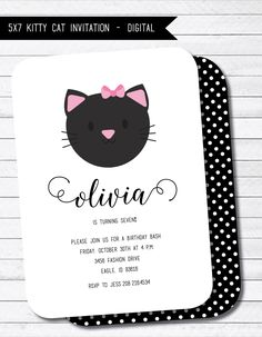 Kitty Cat Birthday Party Printable Digital Invitation by twinklelittleparty on Etsy https://www.etsy.com/listing/251083416/kitty-cat-birthday-party-printable